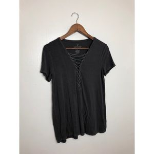 American Eagle Soft & Sexy Lace Up Blouse
